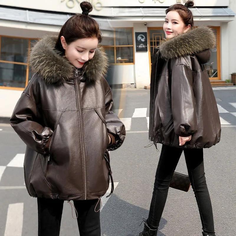 Women's Leather & Faux Large Size Winter Jackets Women Big Fur Hooded Coats 2021 Thicken Warm PU Jacket Woman Short Cotton Parka Coat Loose