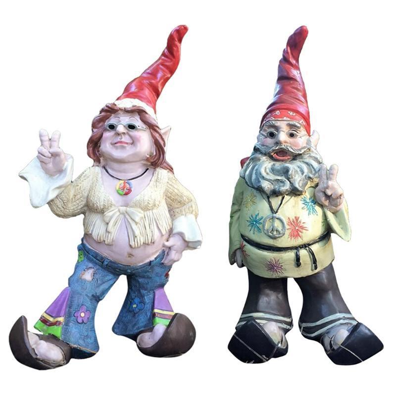 Garden Decorations Gnomes Dude & Babe Sunglasses Gnome Resin Cool Couple Statues Ornament Yard Art Decor
