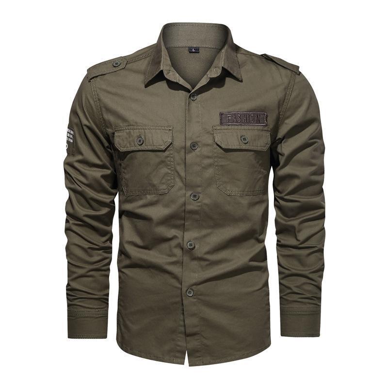 남자 셔츠 통기성 2021 가을 따뜻한 비즈니스 남자 긴 소매 셔츠 면화 스포츠 하이킹 5XL 6XL 군대 군대 캐주얼