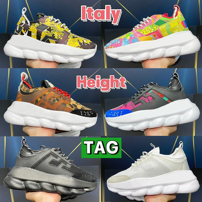 Moda Italia Mens Casual Zapatos Casual Altura Reacción Sneakers 2.0 Fluo Triple Negro Blanco Multi Color Suede Floral Tan Hombres Mujeres Diseñadores