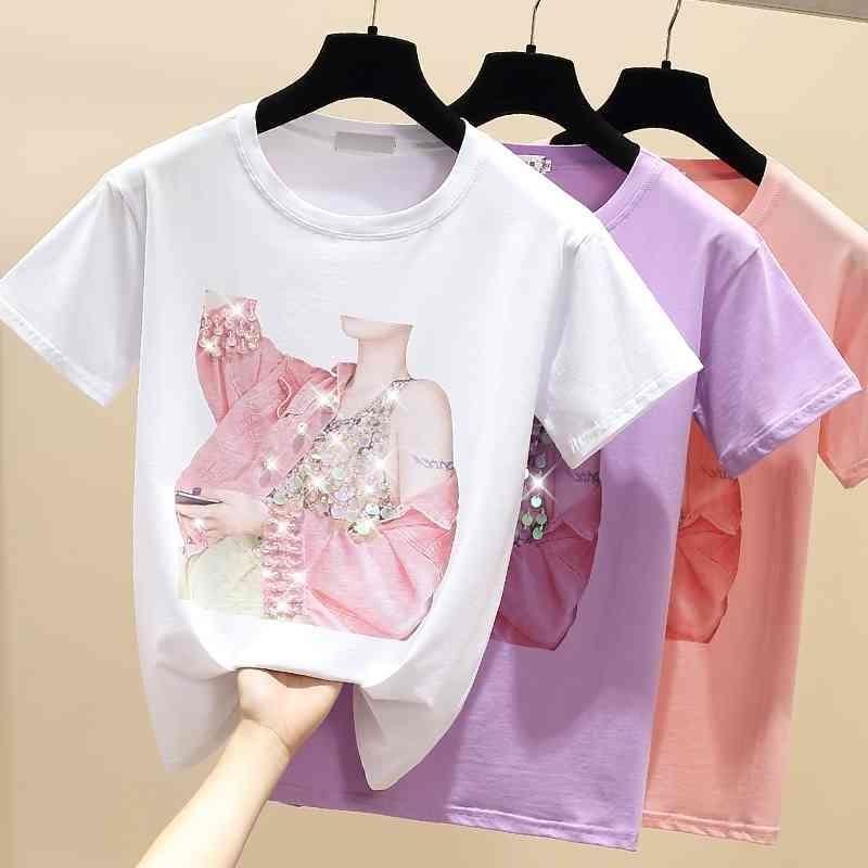 GKFNMT летний с коротким рукавом футболка женские топы фиолетовые футболки хлопок корейский стиль футболка женская одежда бисером футболка FEMME 210406
