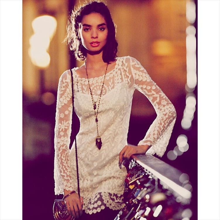 Sale Flower Pattern Long Sleeve Womens Dresses Hook Beach Hollow Out Lace Elegant Sexy