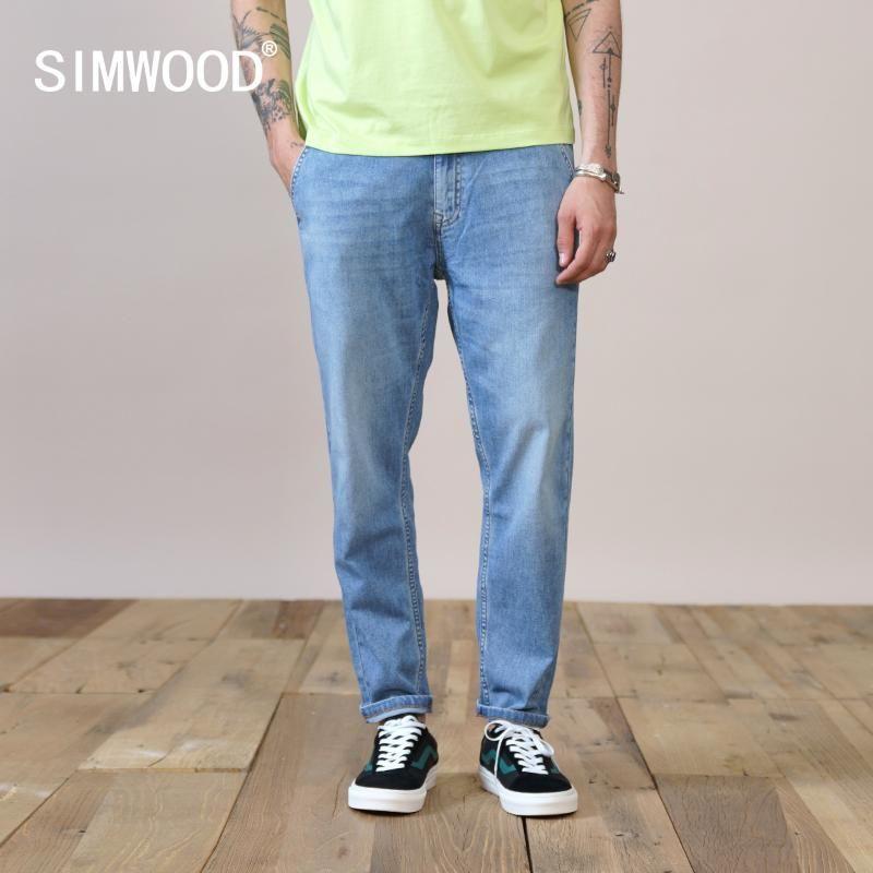 Jeans Masculinos Simwood 2021 Verão Outono Confortável Capered Casual Ankle-Comprimento Denim Calças Plus Size Roupas SK130592