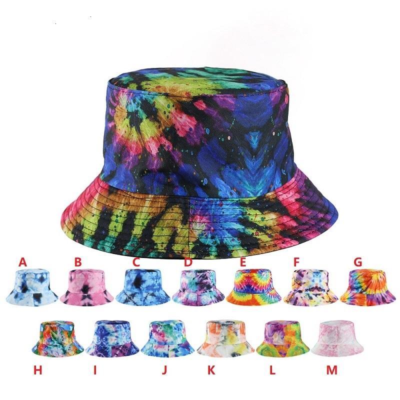 DHL Gradient Krawatte Eimer Hut Sommerkappen Unisex Visier Flache Top Sunhat Mode Outdoor Hip-Hop Fisher Cap Erwachsene Kinder Strand Sonnenhüte