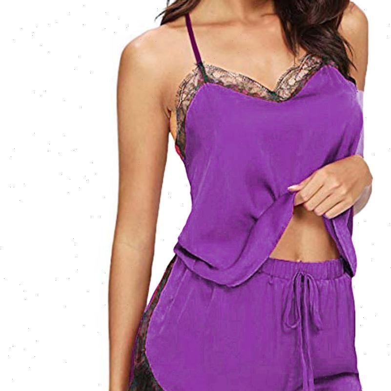 Pijama sets sleeveless strap lace mulheres sleepwear guarnição cetim cami top nightwear femme sexy verão casa desgaste o sono veste ed