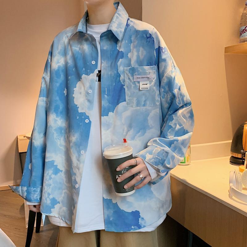 긴 소매 캐주얼 셔츠 남성 한국어 인쇄 대형 셔츠 소프트 컴포트 스트리트웨어 힙합 하라주쿠 남성 의류 남성