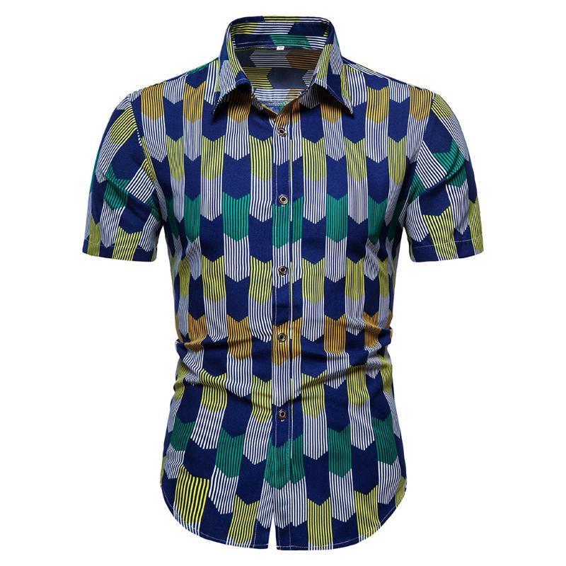 Camicie casual da uomo Feitang 2021 Summer Tops Uomo Vestiti Moda Stampato a maniche corte Camicia a maniche corte A Belo Hawaiano