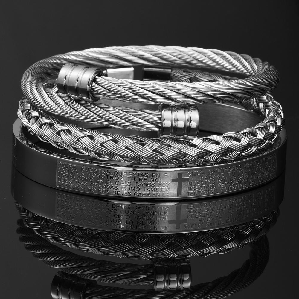 Luxury 3pcs/Set Cross Bangle Men Bracelet Cuff Open Stainless Steel Titanium Faith Bangle Gold Color 2021 New Jewelry for MenBracelets