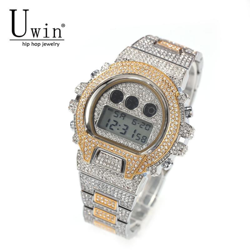 Relógios relógios uwin digital mens relógios cronógrafo data relógio de pulso luminoso led eletrônico À prova d 'água macho