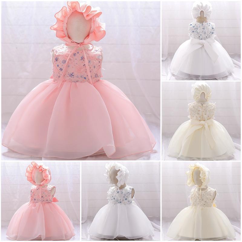 Vestidos de niña 2021 vestido de bautizo infantil nacido bebé ropa de algodón princesa 0 3 6 12 meses de bautismo