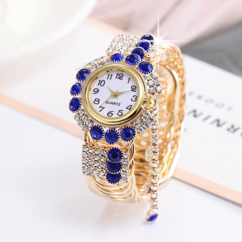 패션 숙녀 팔찌 매력 시계 전체 지르콘 손목 시계 GSWH005 무료 선박 트렌드 야생 그물 연예인 시계