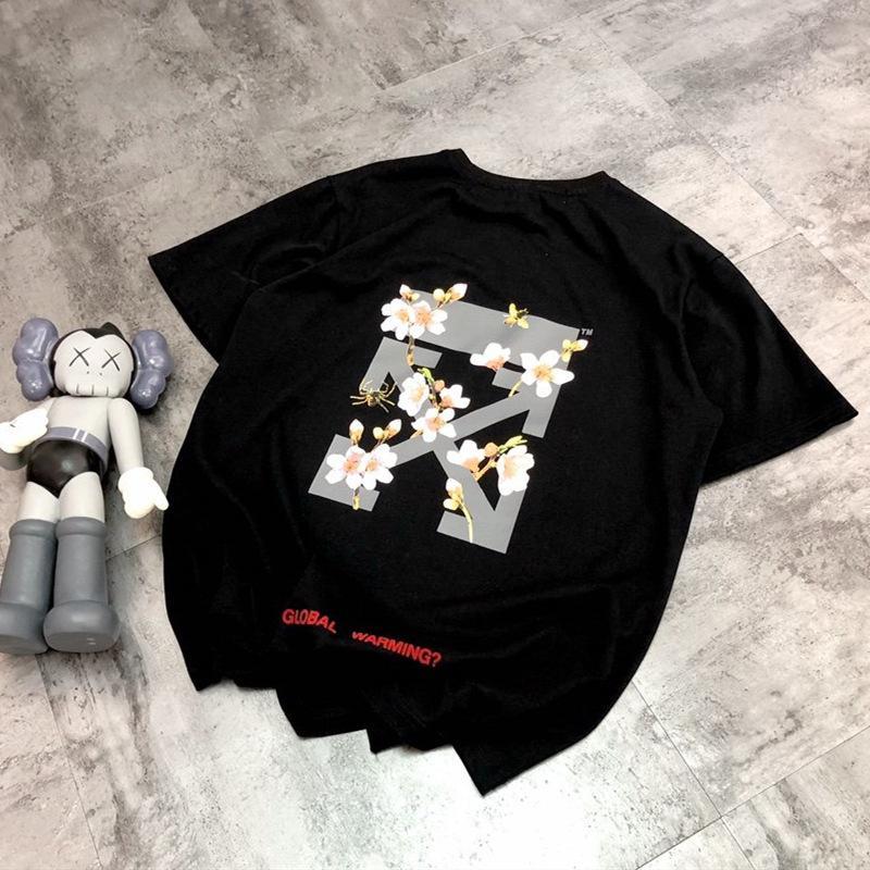 Mode Marke Frauen Neue Lose Kurzarm Rundhals-Blume Gedrucktes Baumwoll-T-Shirt für Männer und Frauen