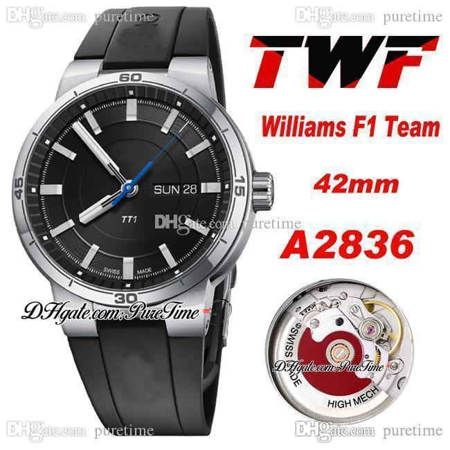 TWF Williams F1 Takım TT1 Gün Tarih A2836 Otomatik Erkek İzle 42mm Çelik Kılıf Siyah Arama Sopa İşaretleyiciler Kauçuk Kayış 2021 Saatler 01 735 7752 4154-07 4 24 06FC Puretime