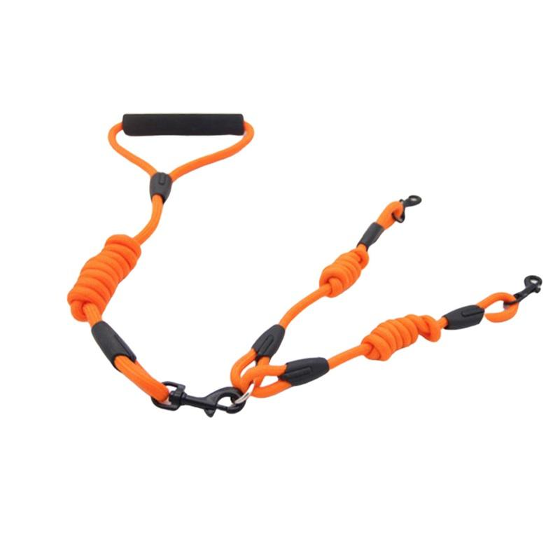 Собаки двойной веревкой нейлоновая прогулка 2 двух собак поводки соединитель двойной двойной свинец ходьба поводка опциональный воротник тянуть веревку 434 v2