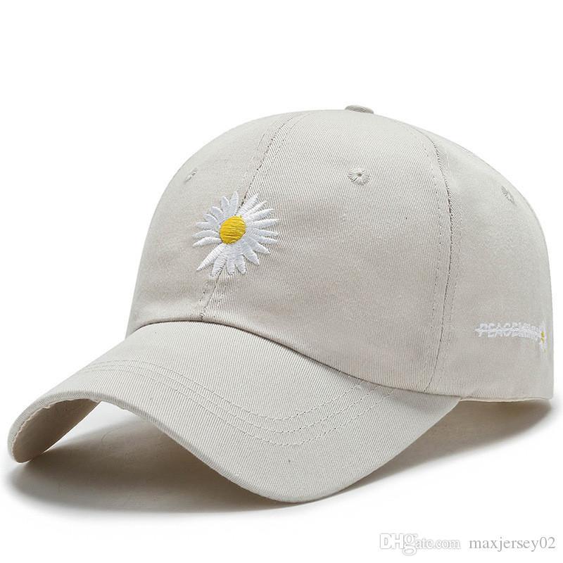 2020 Schatten Gänseblümchen Baseballmütze Hut Für Männer Frauen Schein Gebogene Sonnenblende Baseballmütze Hut Druck Brief Mode Einstellbare Kappen Schwarz Weiß