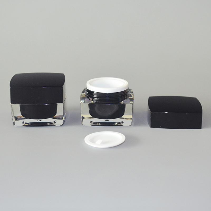 Lagerflaschen Gläser 18pc 10g Luxus Square Jar Black Deckel Reisecreme Acrylverpackung Kann Logo drucken