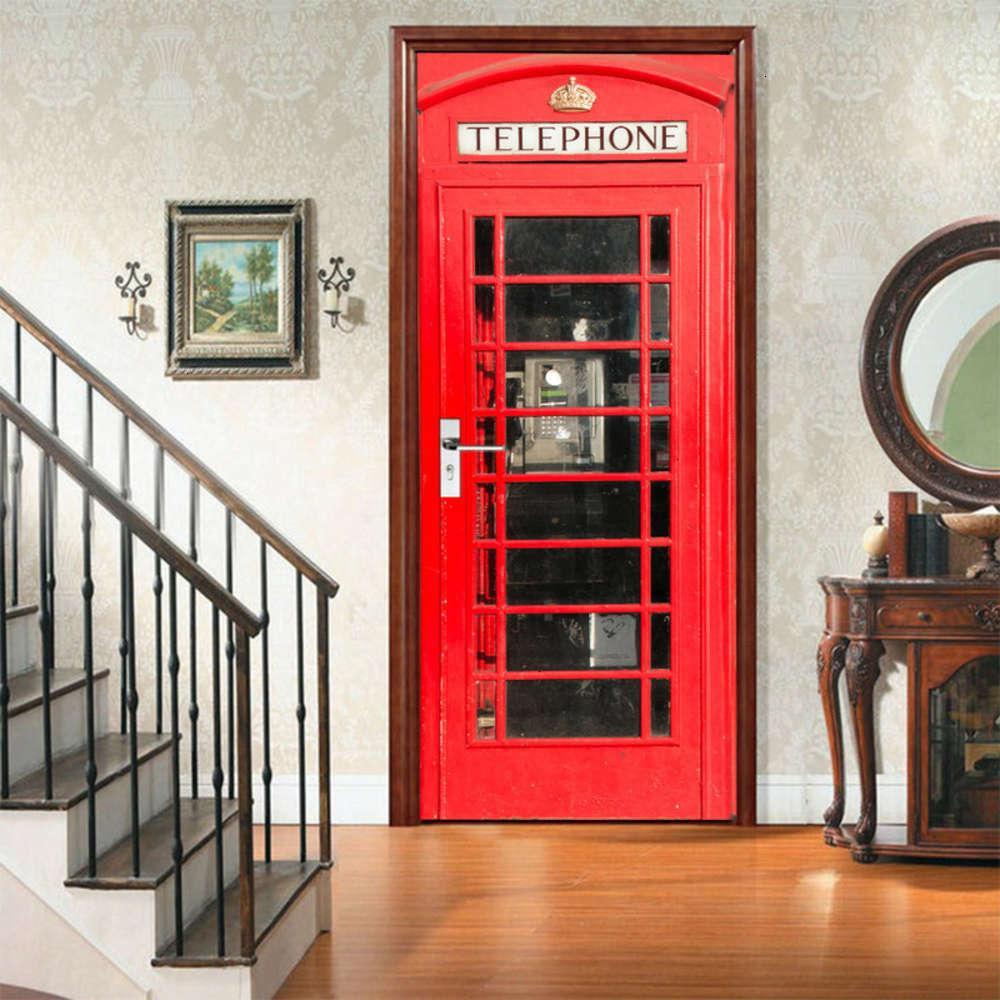 Decorativo Adesivos Proteção De Proteção Magia Conjunto Criativo Ambiental AmJ 3D Telefone Cabine De Porta Renovação Self Adhive Quarto Adesivo de Parede