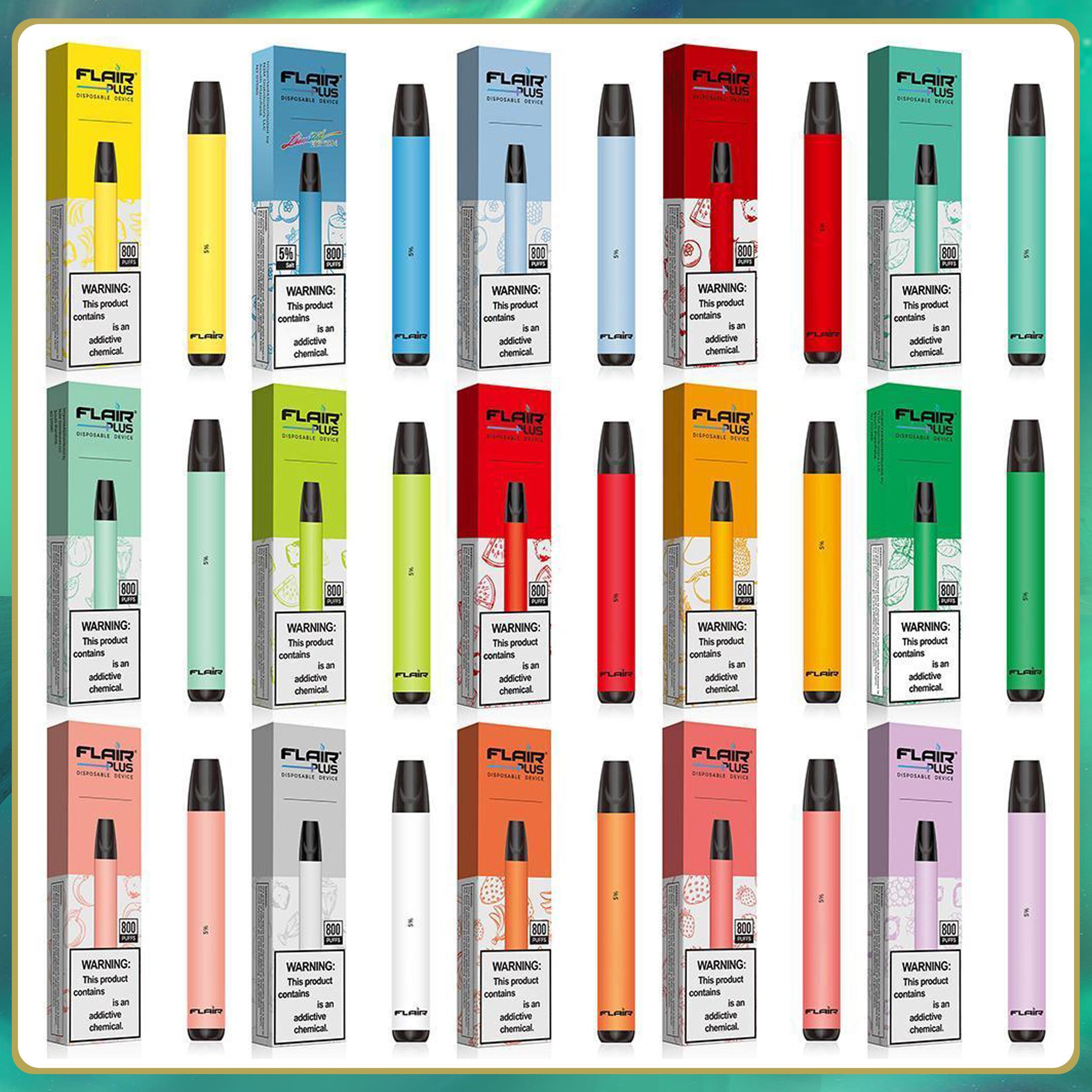 Toptan Flair Artı Tek Kullanımlık Vape E Sigaralar 800 Puffs Kalem Cihazları 3.5 ml Ön Dolgulu Pods Kartuşları Buharlaştırıcılar 550 mAh Pil Buhar Hava Bar Max