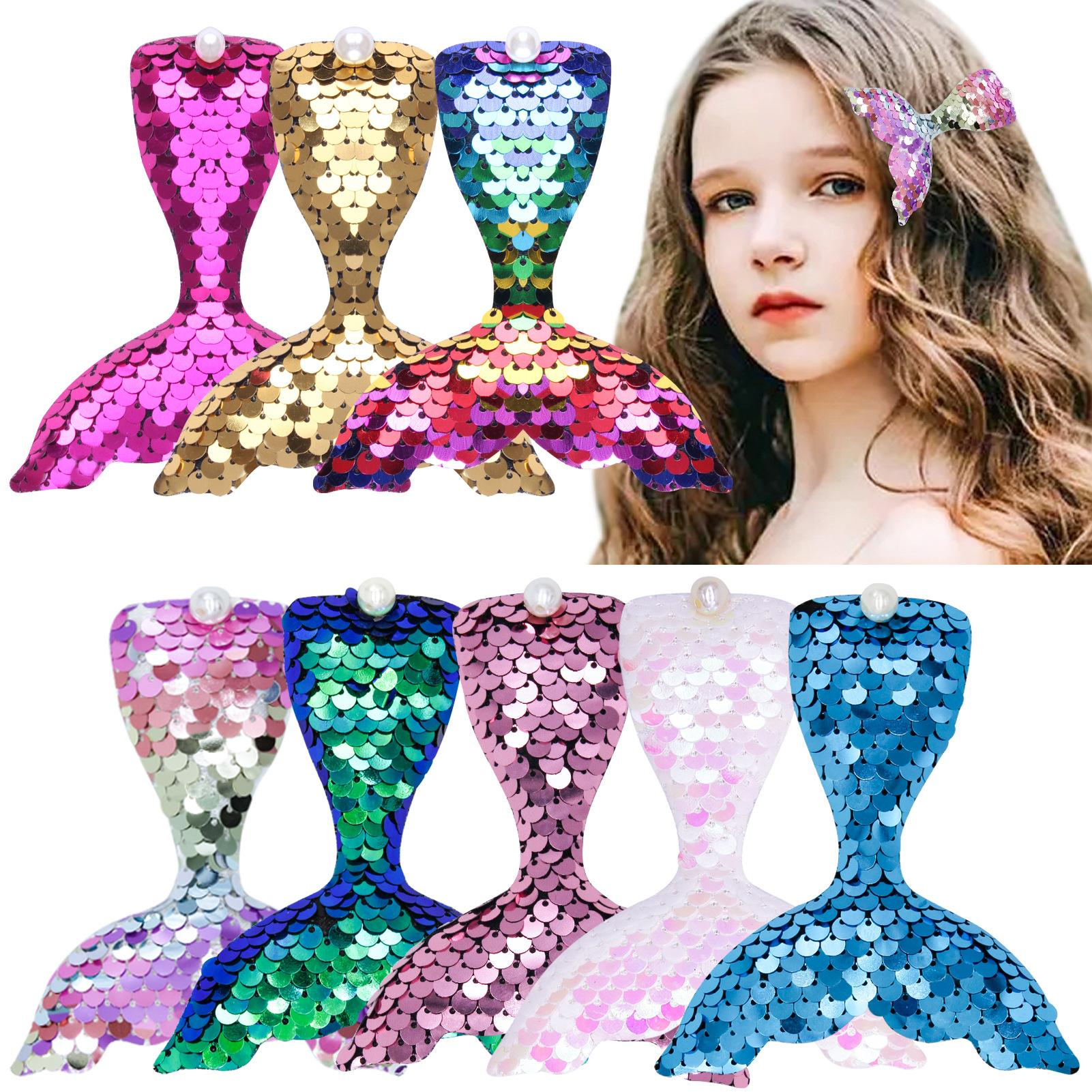 Sequin Mermaid with Clips Hairpins Baby Girls Kids Fashion Cute Hairclips Barrettes Headwear Hair Accessories for Child