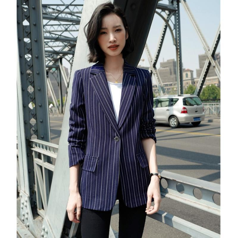 Ladies Casual Blazers Women Outerwear Jackets Long Sleeve Elegant Navy Blue Striped Clothes OL Style Women's Suits &