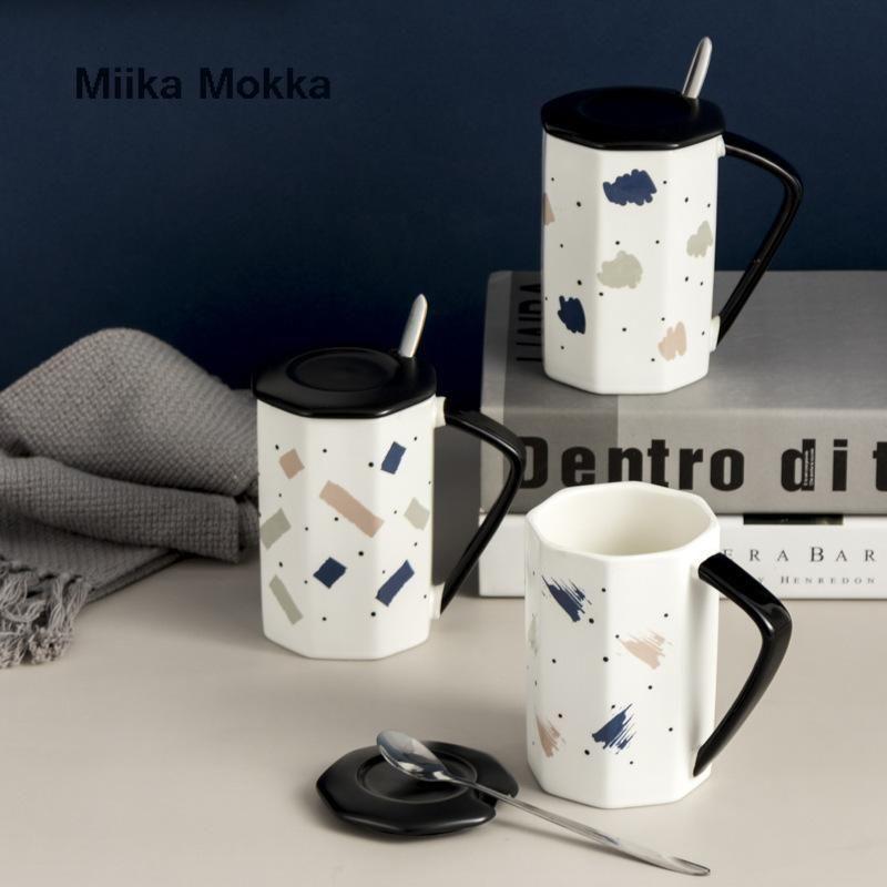 Yaratıcı çokgen kahve kupa kapak ve kaşık ile Nordic tarzı seramik süt fincan su ev ofis hediyeler kupalar