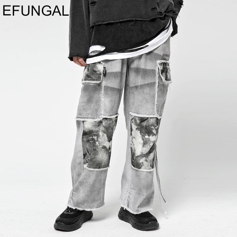 헐렁한 바지 남성 넥타이 염료 큰 주머니 힙합 하렘 조거 다크 펑크 스타일 패션 스트리트웨어 캐주얼 바지 전체 길이 남성
