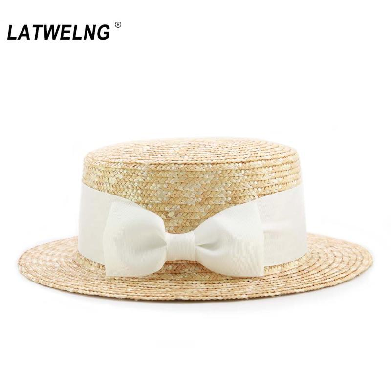 성인 어린이 큰 활 짚 태양 모자 여성 여름 해변 모자 소녀 소년 바이저 모자 아이 UV 도매 드롭 캡