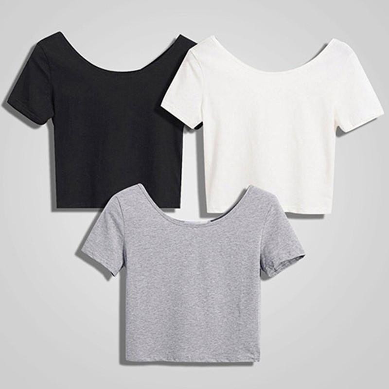 Yeni Moda Kadınlar Scoop Boyun Kırpma Üstleri Kısa Kollu Çıplak Midriff Casual Bluz T-shirt Gevşek Pamuk T Gömlek Kadınlar Üst