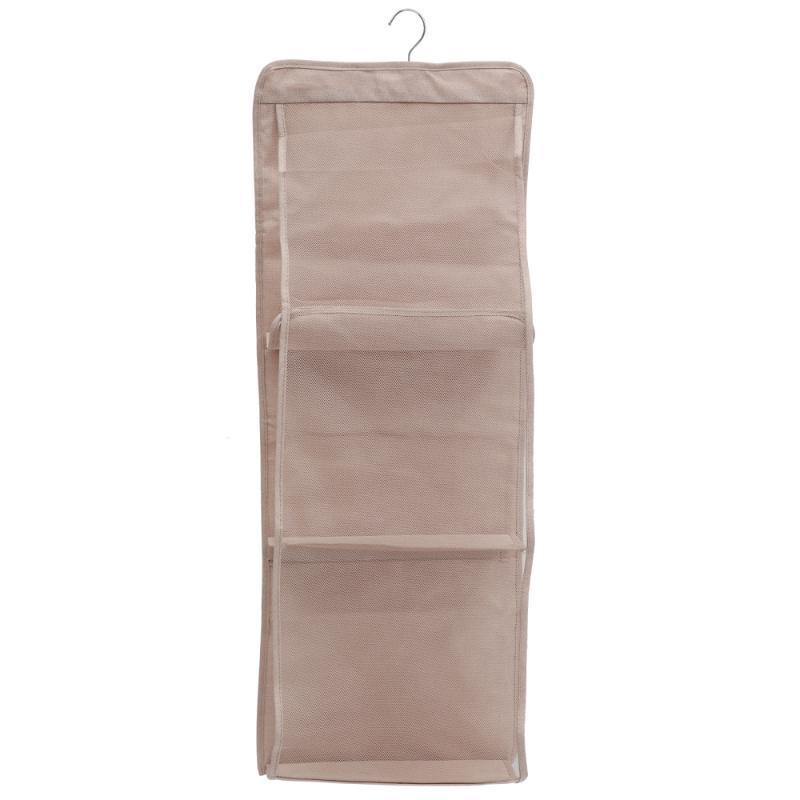 صناديق تخزين صناديق 1PC 6 جيب حقيبة شنقا 3 طبقات حقيبة يد مزدوجة حقيبة