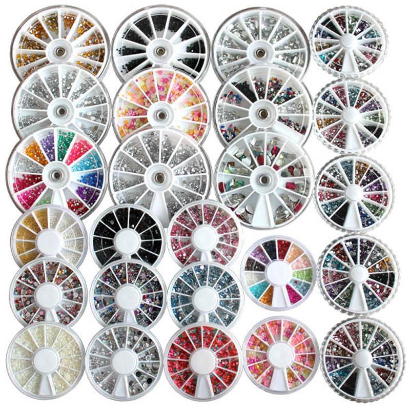 Opruiming 25 stks set verschillende stijlen gemengd verschillende kleur glitter steentjes edelstenen kralen parels wiel voor nagel kunst acryl decoratie na368