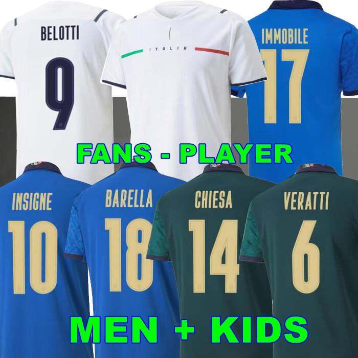 Jogador de fãs 2020 2021 Itália Soccer Jesseiro Imóvel Belatti Jorginho Insigne Verratti Bernardeschi Locatelli Homens Crianças 20 21 Camisas de Futebol Chiesa Barella Berardi