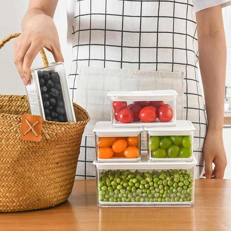 Garrafas de armazenamento frascos frigorífico de plástico Preservação de alimentos Caixa de drenagem com tampa Organizador de acessórios de cozinha