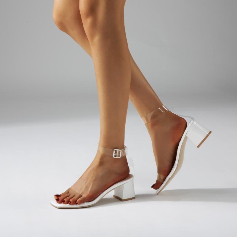 Sandals Plastic Sandal Block Heels Med Fashion Womens Shoes 2021 Suit Female Beige Large Size Transparent Chunky Medium Luxury Black Com