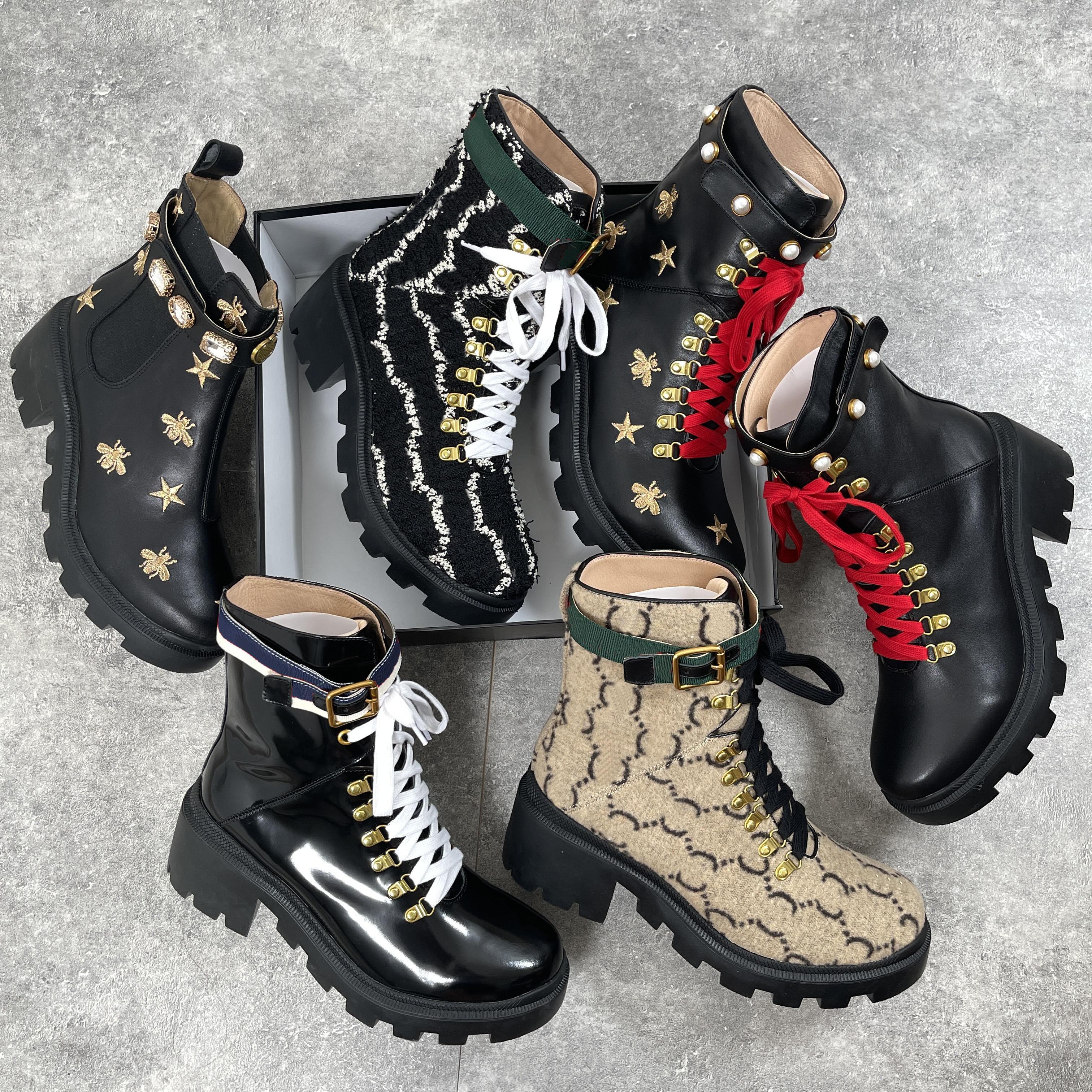 Роскошный бренд дизайнер женские ботинки сексуальные толстые каблуки пустынные платформы ботинок пчел звезда натуральная кожа зимняя обувь размер 35-42