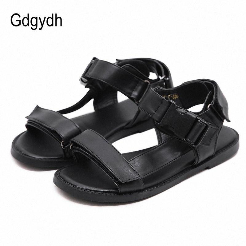 GDGYDH الأزياء هوك حلقة الصيف شقة المفتوحة تو الصنادل عارضة المرأة في الهواء الطلق تنفس الأحذية النسائية مريحة مدرسة طالب 86P9 #