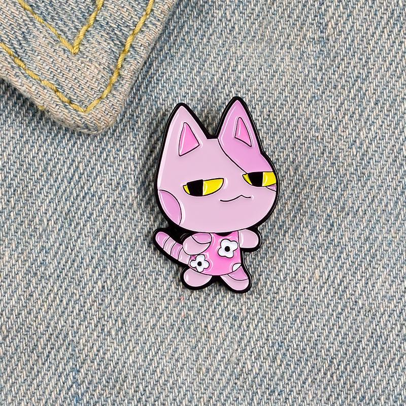 Brooches de pino de esmalte de gato rosa para mulheres desenhos animados animal distintivo flor vestido lapela camisa camisa mochila presente jóias para crianças 691 t2