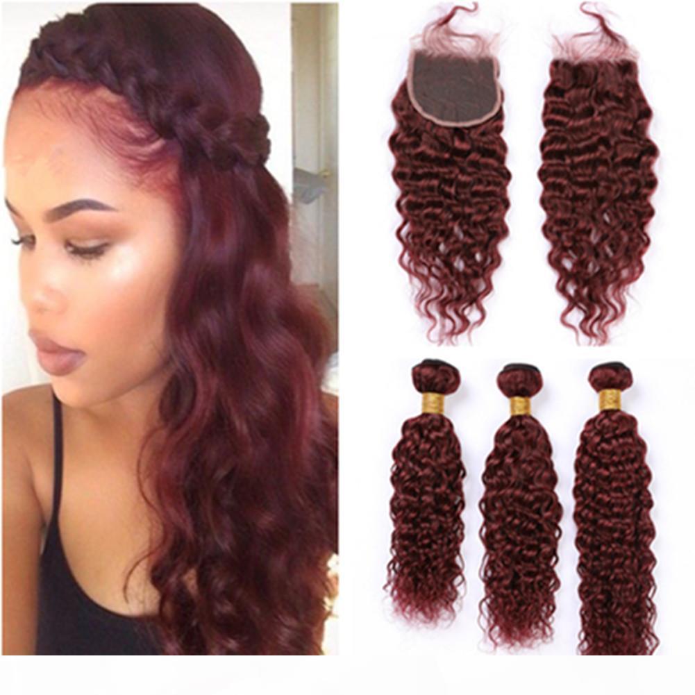 99J vin rouge vague eau paquebots de cheveux humains avec fermeture bordeaux rouge humide et ondulé cheveux brésiliens cheveux vierges avec fermeture en dentelle 4x4