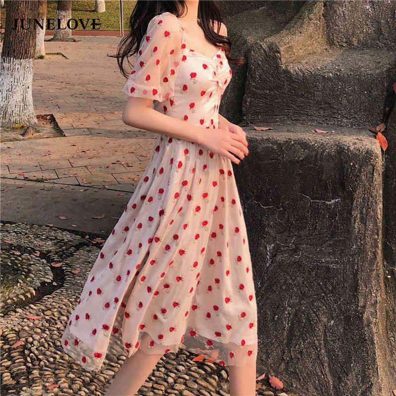 Frauen Sommer Elegante Punkt Spitze Party Kleid Vintage Dame Frankreich Stil Midi Casual Weibliche Hohe Taille Boho Vestidos 210512