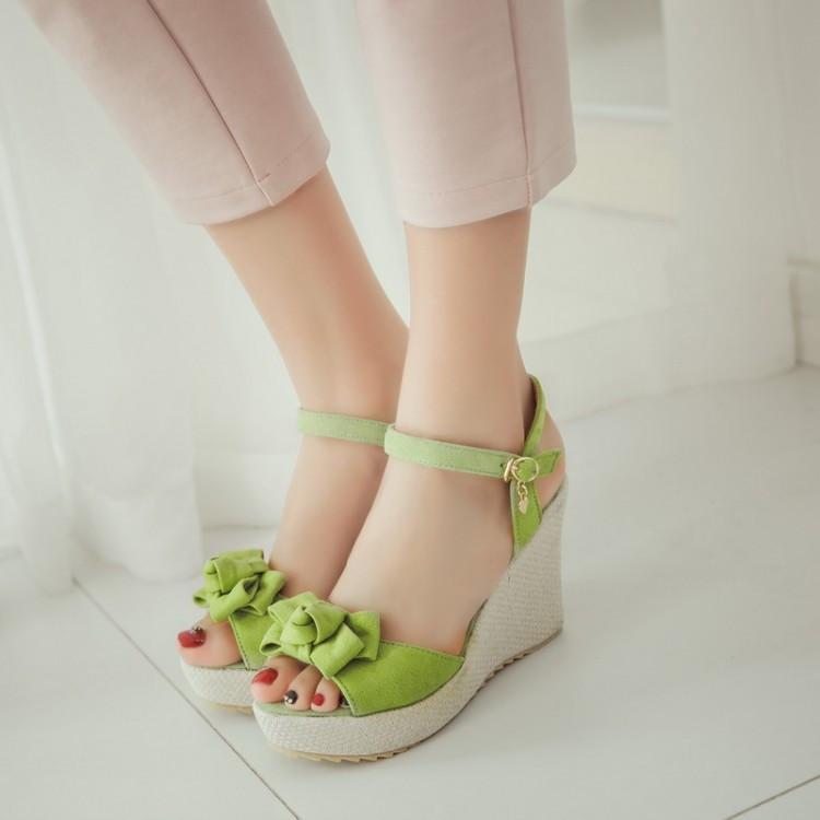 Sommer Elegante Plattform Keil High Heels Sandalen Frauen Schuhe Peep Toe Butterfly-Knoten Kleid Büro Dame Datum