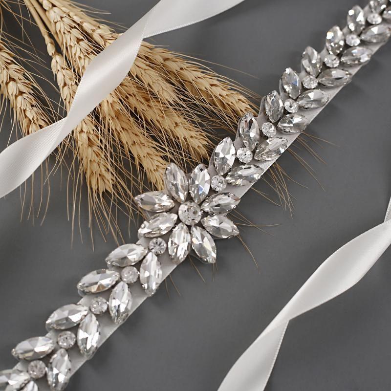 Hochzeitsschärpen Amorarsi S389 Handgemachte Strass Silber Gürtel Diamantbänder für Frauen Transparente Brautbraut Zubehör