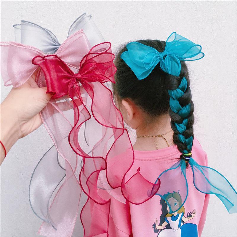 6 قطع جديد الجنية الطويلة غزل bowknot الشعر كليب الأطفال الشعر القوس الفتاة الملحقات دبوس أغطية الرأس قطرة الشحن 701 x2