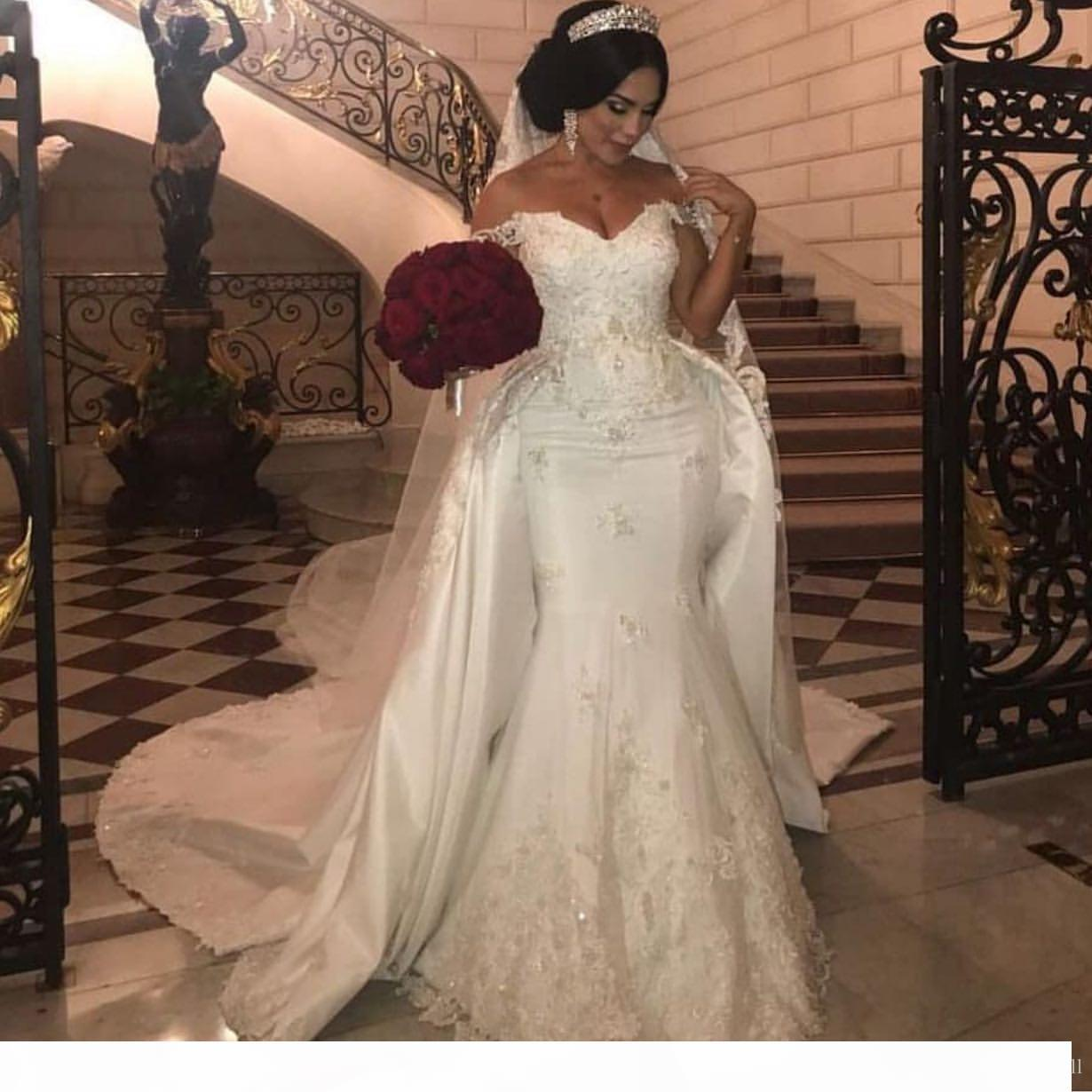 Elegant 2020 Beaded Lace Mermaid Wedding Dresses With Detachable Train Off Shoulder African Bridal Gowns Applique Ivory Satin Wedding Dress