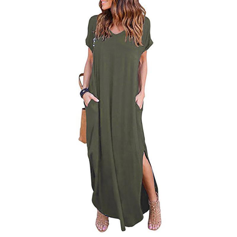 Swimwear das mulheres 2021 verão moda cor sólida costura de mangas curtas V-pescoço em v e grande vestido de balanço