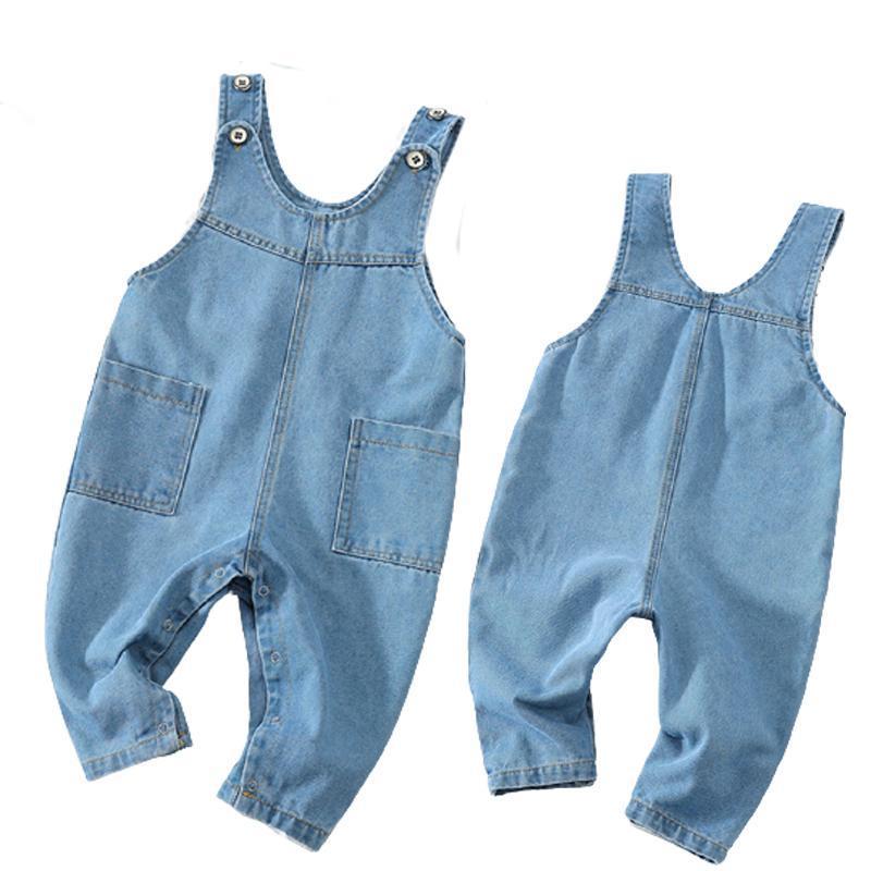 Primavera otoño niños ropa bebe muchachos niñas azul denim pantalones monos bolsillo ropa infantil niños moda niño camisuelas casual