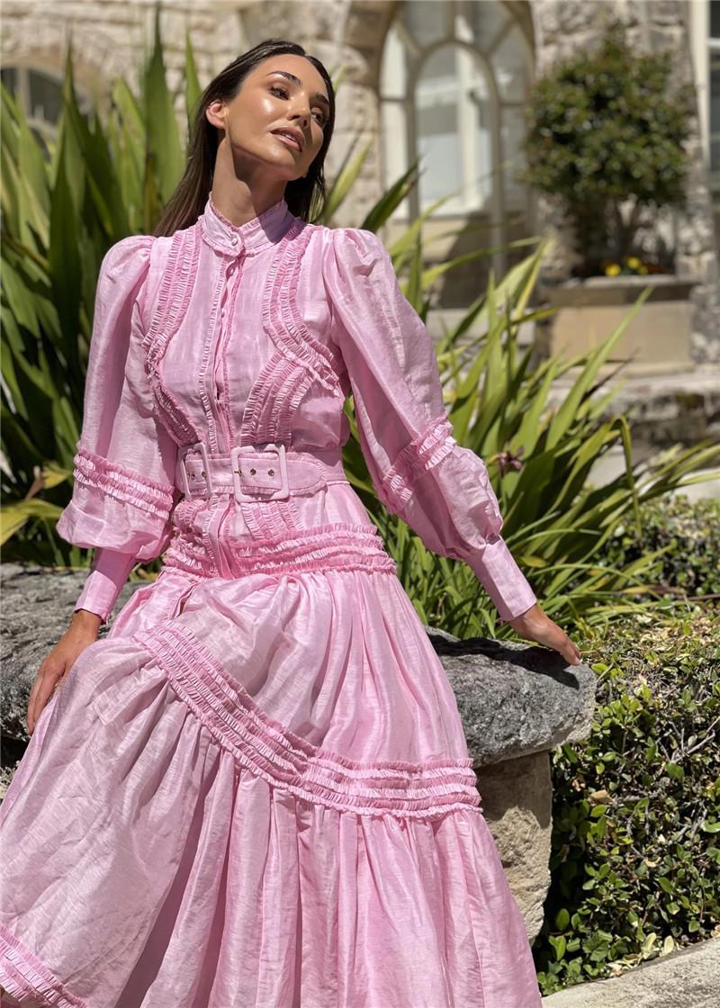 Logotipo popular de la marca de diseñador australiano Nuevo vestido de seda Ramie con cintura alta a la falda de hadas delgada