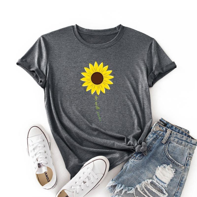 Kadın T-Shirt Ayçiçeği Pamuklu T Gömlek Kadınlar Üst Harajuku Grafik Tee Femme Asla Pes Etme Mektup Tshirt Giysileri