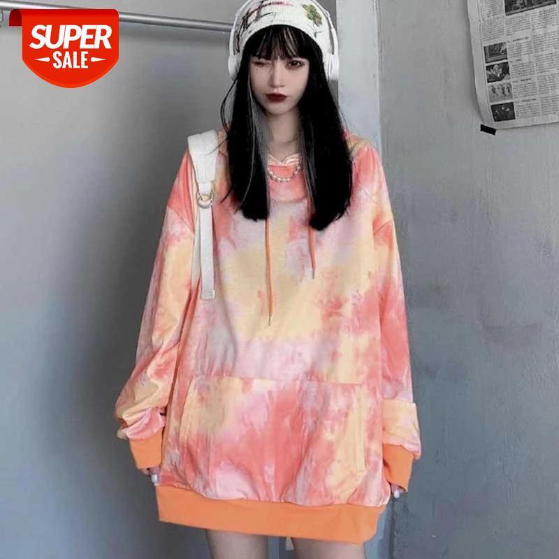 Lazy стиль толстовки с капюшоном Женская средняя длина весны и осенью свободный корейский тонкий топ хараджуку Harajuku High Street Tie-краситель AL # M21E