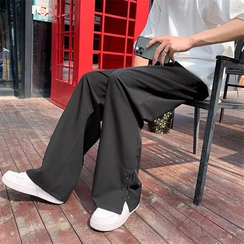 Calças masculinas Botão Suit Primavera Outono Harajuku Solto Calças Loja de Pé Streetwear Coreano Casual Preto Cinza Pantalon Ropa Hombre