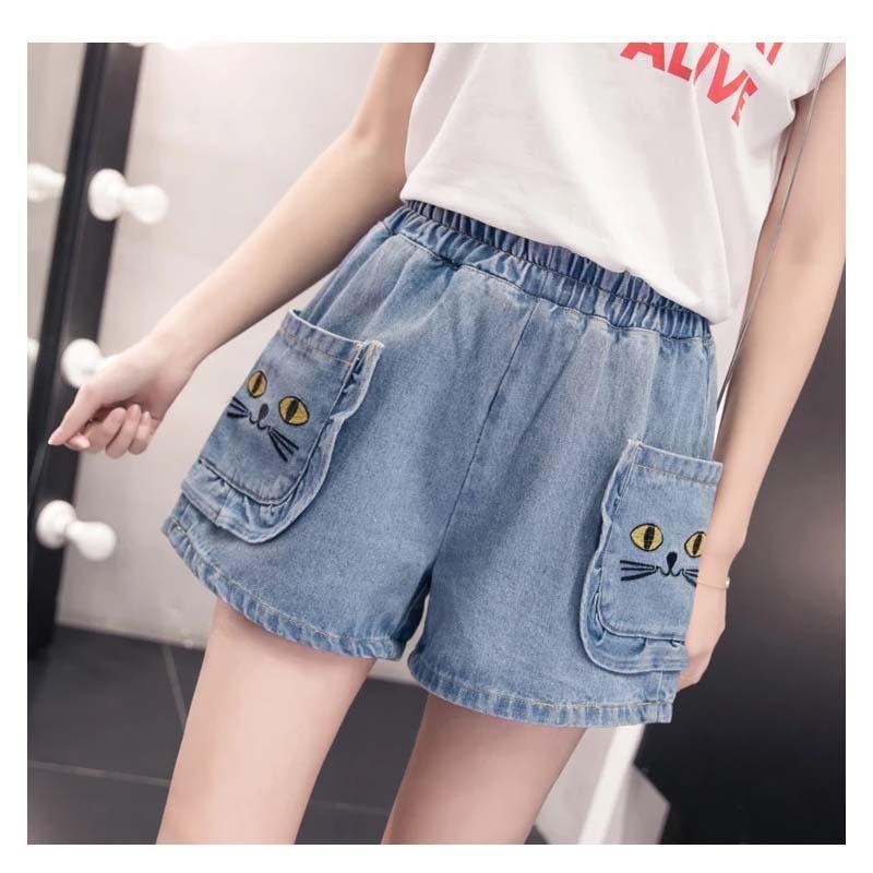 جيب كس قصيرة 5xl القط الدينيم عارضة خمر السراويل مرونة عالية الخصر جينز إمرأة زائد الحجم المتناثرة claquettes فام d ete المرأة