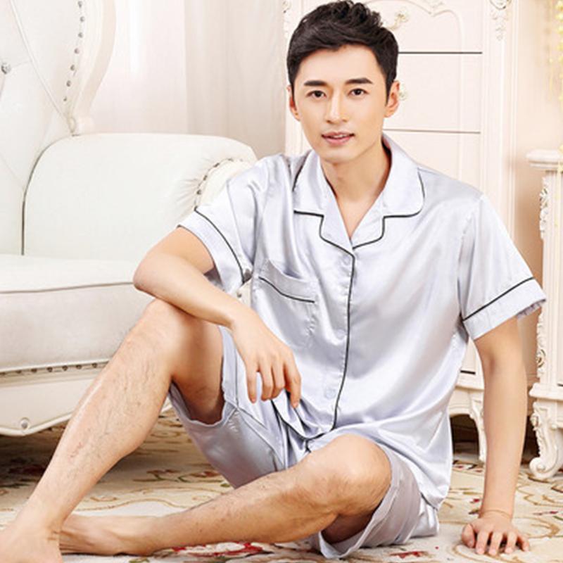 TonyCandice Satin Silk Pijamas Shorts para hombres Rayon Silk Sleepwear Summer Male Pyjama Set suave camisón para hombres